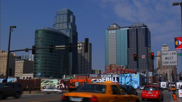 "Cityscape from the film ""The Next American Dream,"" showing urban walkability."