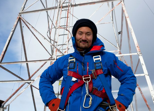 Host Yul Kwon at a gas beacon in Montana.