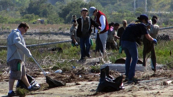 Volunteers pick up trash around San Diego Bay during the Creek to Bay Cleanup...