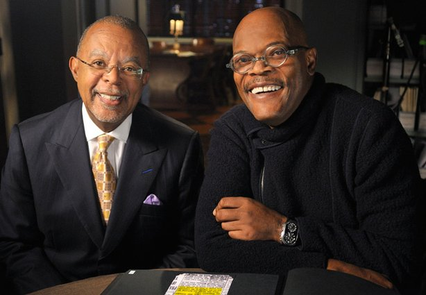 Henry Louis Gates, Jr. (l) and Samuel L. Jackson (r) during the filming of FI...
