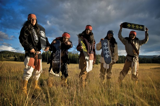 The 4-Wheel War Pony skate team. From left to right, Armonyo Hume, Jess Michael Smith, Aloysius Henry, Ronnie Altaha and Lee Nash. The team was founded by award-winning filmmaker Dustinn Craig (White Mountain Apache/Navajo), who got his start making skateboarding videos in Arizona.