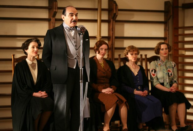 Shown (l-r): Harriet Walter as Miss Bulstrode, David Suchet as Hercule Poirot...
