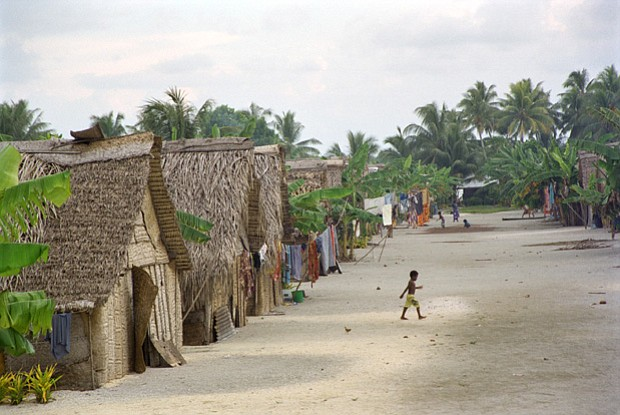The village of Takuu atoll.