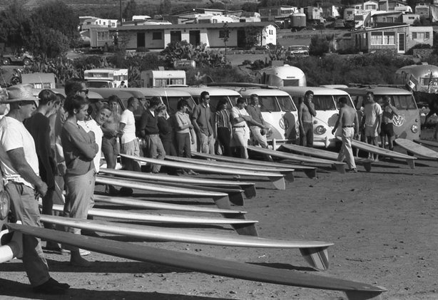 "A film still from the documentary ""Boardroom: Legends of Surfboard Shaping,"" ..."