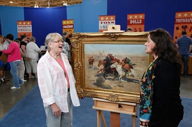 At the ANTIQUES ROADSHOW event in Minneapolis, the owner (left) of this circa...