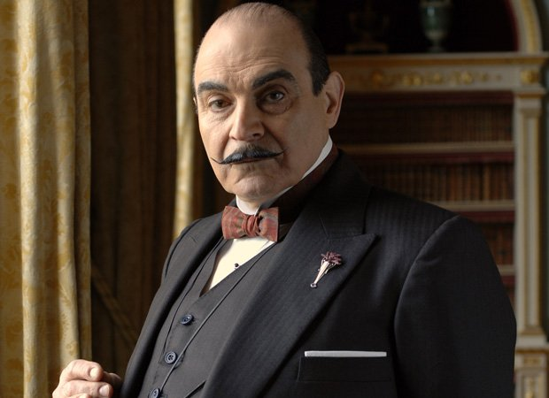 David Suchet in his signature role as suave Belgian super sleuth Hercule Poir...