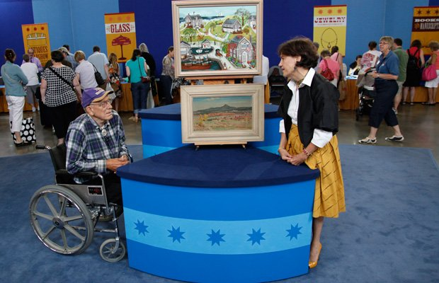 This gentleman brought two paintings to the ANTIQUES ROADSHOW event in Minnea...