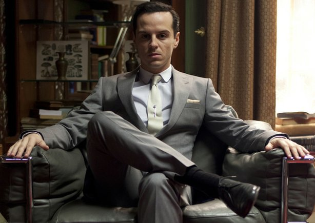 "Andrew Scott as Jim Moriarty in ""The Reichenbach Fall."" Sherlock Holmes and D..."