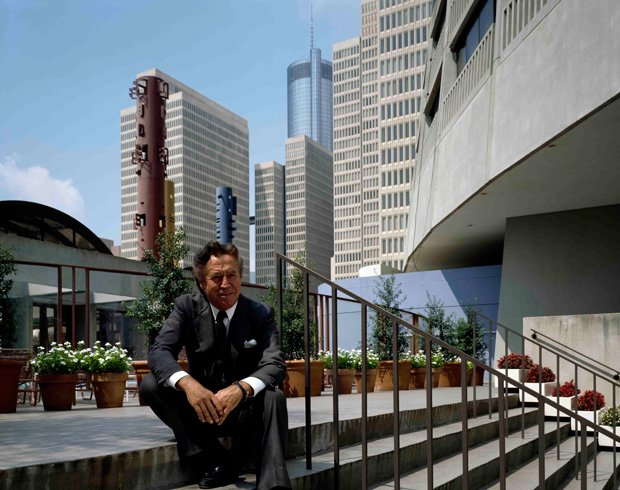 Architect John Portman among the buildings of his signature project, Peachtre...