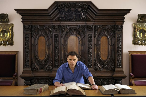 Niall Ferguson with the archives of Frederick the Great, 17th-century Prussia...