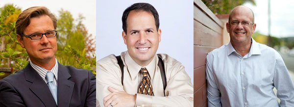 Candidates for the San Diego City Council's 7th District from left to right, Rik Hauptfeld, Mat Kostrinsky and Scott Sherman.