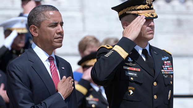 President Obama, escorted by Washington Military District commanding general,...