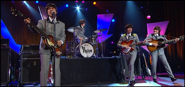 The Fab Four performs a Beatles tribute on stage at Pechanga Resort & Casino ...
