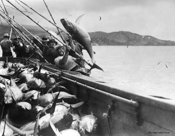 Line and pole fishing in 1917.