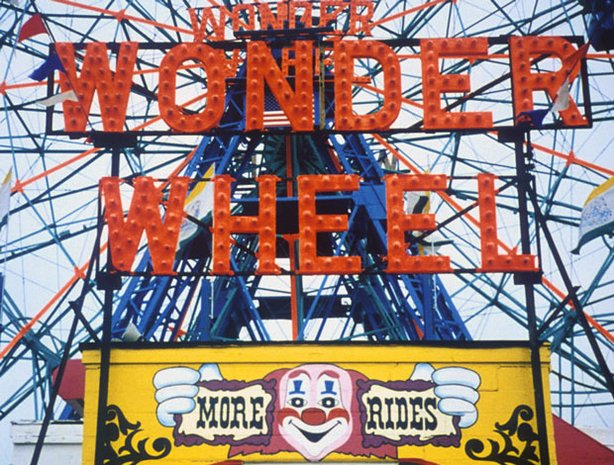 The Wonder Wheel at Coney Island. Long before giant theme parks and computer-controlled thrill rides, America had lots of charming and beautiful amusement parks like Coney Island in New York.