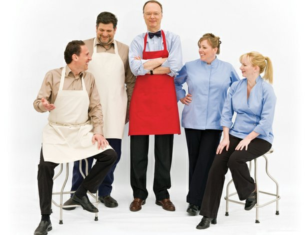 Cast members of AMERICA's TEST KITCHEN: Jack Bishop, Adam Ried, Christopher Kimball, Julia Collin Davison and Bridget Lancaster.