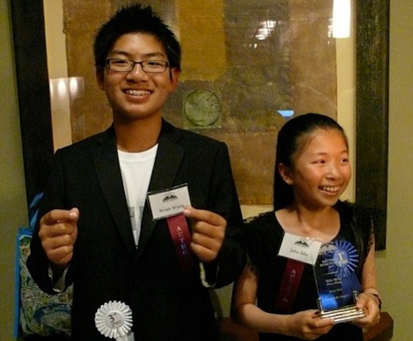 Brian Wang and Julia Situ won in the new category of Kids Write on Saturday J...