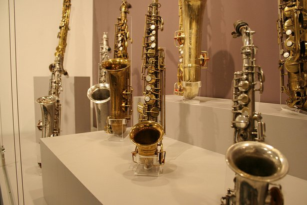 Saxophones on display at the Museum of Making Music in Carlsbad, part of its ...