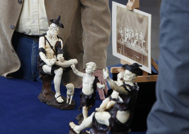 At ANTIQUES ROADSHOW in Atlantic City, New Jersey, appraiser Reid Dunavant tells this guest that his figurines, inherited from a relative who owned a museum in Philadelphia in the late 1800s, probably are by 18th-century Austrian woodcarver Simon Troger. If authenticated, the figures could bring as much as $400,000.