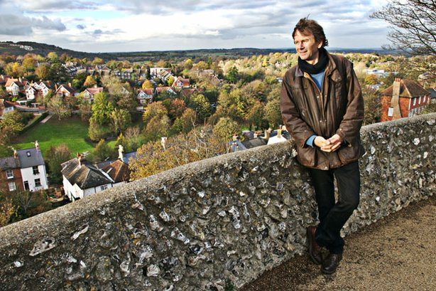 Historian Michael Wood atop Lewes Castle.