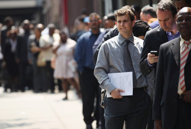 Applicants wait to enter a job fair on June 11, 2012 in New York City.