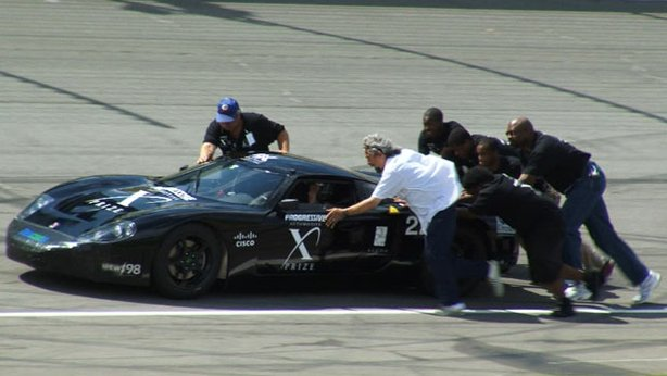 Students from West Philly High push their hand-crafted hybrid sports car on to a Michigan speedway as they compete to win a $10 million dollar prize.