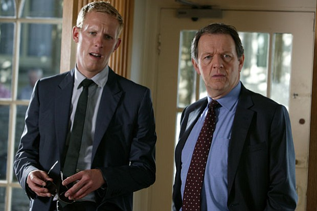 Laurence Fox as DS Hathaway and Kevin Whately and DI Lewis.