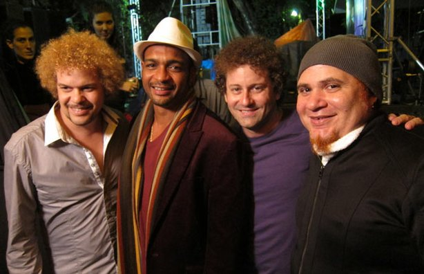 Cuban musician Raul Paz with fellow musical stars Descemer Bueno, David Torre...