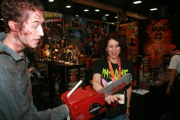 Getting my geek on: Ash cutting my hand off at Comic-Con.