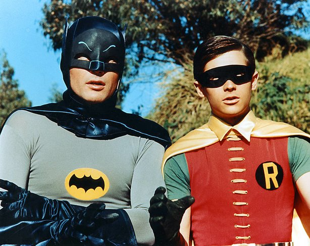 "Adam West and Burt Ward as teh caped crusaders Batman and Robin in the 1966 movie, ""Batman."""