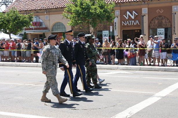 Military contingent marches down University Avenue in Hillcrest on July 21,2012.