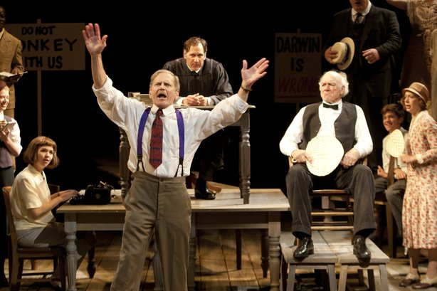 "Robert Foxworth is Henry Drummond and Adrian Sparks is Matthew Brady in the Globe's production of ""Inherit the Wind,"" directed by Adrian Noble."