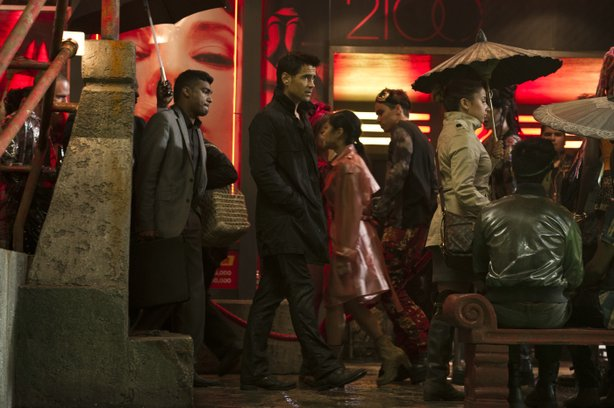 "Colin Farrell in the very ""Blade Runner"" looking world of the new ""Total Recall."""