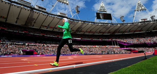 Sarah Attar of Saudi Arabia competes in the Women's 800m Round 1 Heats on Day 12 of the London 2012 Olympic Games at Olympic Stadium on August 8, 2012 in London, England.
