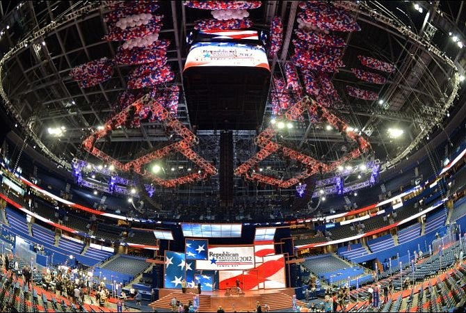 The floor at the Tampa Bay Times Forum is set Aug. 26 for the Republican Nati...