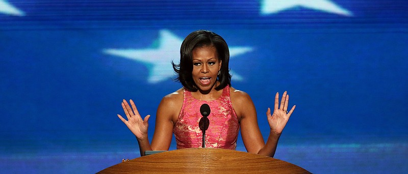First lady Michelle Obama speaks on stage during day one of the Democratic Na...