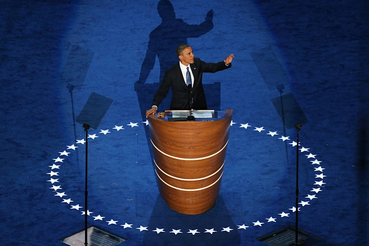 President Obama accepts the Democratic nomination for president at Time Warne...