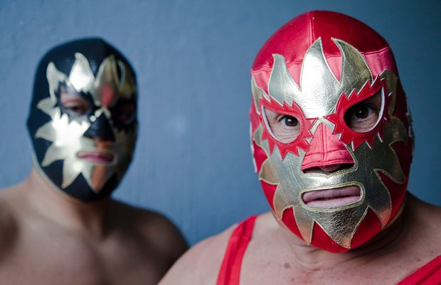 """Wrestler Solar and Solar Jr. masked. """"Lucha libre,"""" famous for its masked wre..."""