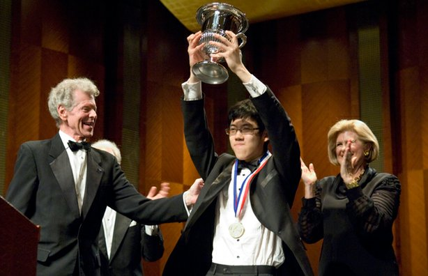 Van Cliburn with Haochen Zhang, just after he was named a gold medalist of th...