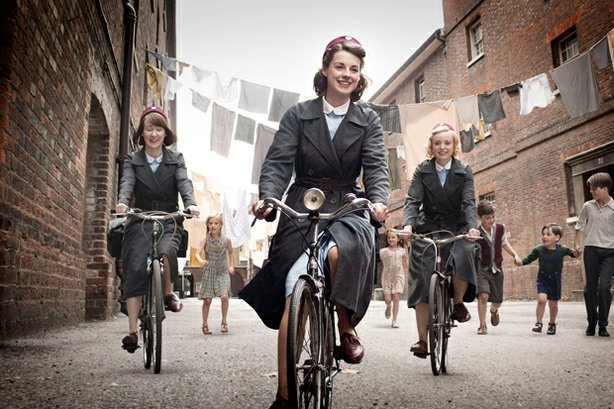 Bryony Hannah as Cynthia, Jessica Raine as Jenny and Helen George as Trixie in CALL THE MIDWIFE.