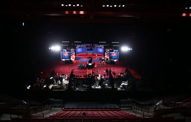 Workers prepare for the Presidential Debate at the University of Denver on October 3, 2012 in Denver, Colorado.