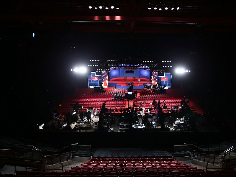 Workers prepare for the Presidential Debate at the University of Denver on O...