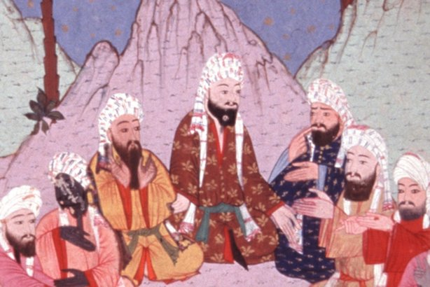 This 16th Century painting from a Turkish manuscript depicts a scene from the time of Muhammad. Members of the powerful Quraysh tribe in Mecca debate the impact of the growth of Islam in Medina, the nearby city where Muhammad led his converts.