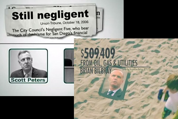 Two shots from ads against Brian Bilbray and Scott Peters.