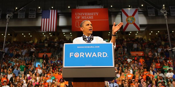U.S. President Barack Obama speaks during a campaign rally at the BankUnited Center at the University of Miami on October 11, 2012 in Miami, Florida.