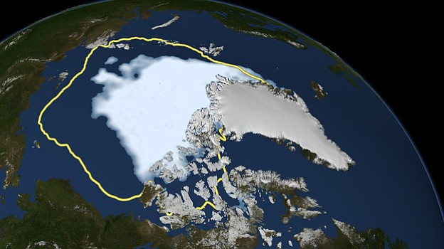 This Sept. 16 image released by NASA shows the amount of summer sea ice in th...