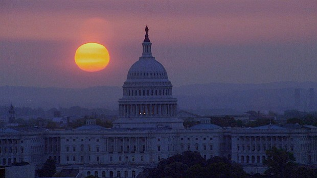 Sunset over the U.S. Capitol, Washington, D.C.