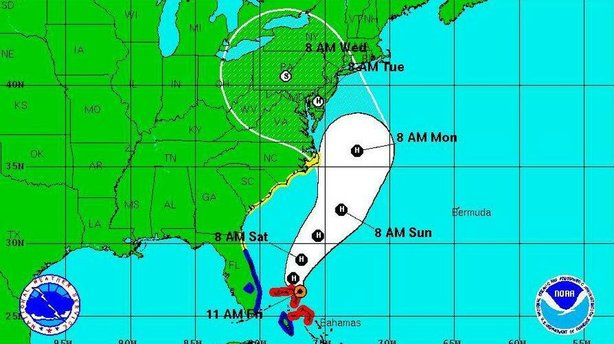 "The National Hurricane Center's ""5-day forecast cone"" as of 11 a.m. ET today ..."