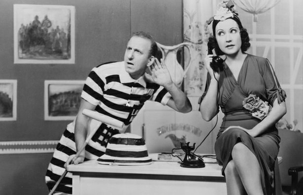 "Jimmy Durante and Ethel Merman in ""Red Hot and Blue,"" 1936."