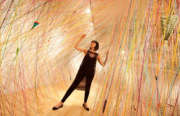 Tanya Aguiñiga in her 2011 installation at the Craft and Folk Art Museum,